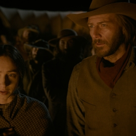 Zoe Kazan is Alice Longabaugh and Bill Heck is Billy Knapp in The Ballad of Buster Scruggs, a film by Joel and Ethan Coen.