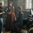4113_D008_00156_RC Director Josie Rourke and actors Margot Robbie and Joe Alwyn on the set of MARY QUEEN OF SCOTS, a Focus Features release. Credit: Liam Daniel / Focus Features