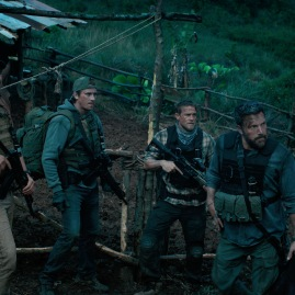 "TRIPLE FRONTIER (2019) - pictured L-R: Pedro Pascal (""Catfish""), Garrett Hedlund (""Ben""), Charlie Hunnam (""Ironhead""), and Ben Affleck (""Redfly"") Photo Courtesy of Netflix"