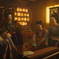Disney's MULAN..L to R: Groom's mother, Matchmaker (Pei-Pei Cheng), Xiu (Xana Tang), Wuwei (Rosalind Chao) and Mulan (Yifei Liu)..Photo: Film Frame..© 2019 Disney Enterprises, Inc. All Rights Reserved.